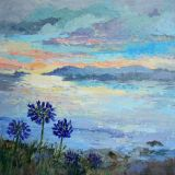 Blue Flowers and Sunset,           Acrylic 40 x 40cm  framed