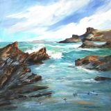 Cornish Beach near Padstow, Acrylic, 50 x 50 cms framed