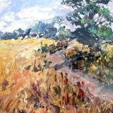 Cotswold Lane plein Air, acrylic ws
