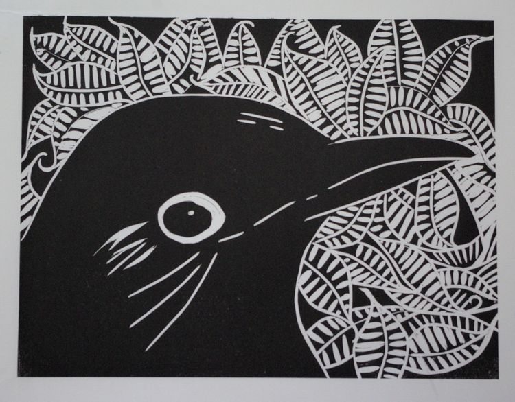 Large blackbird linoprint