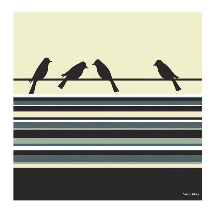 Stripy Birds (denim)