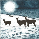 Hinds in snow