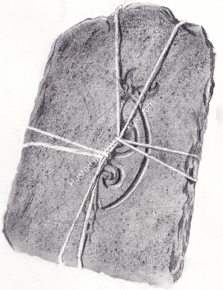 Tied engraved stone