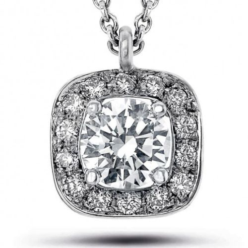 WHITE GOLD DIAMOND CUSHION SHAPE DIAMOND CLUSTER PENDANT