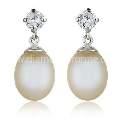 WHITE GOLD DIAMOND FRESH WATER CULTURED PEARL DROP EARRINGS
