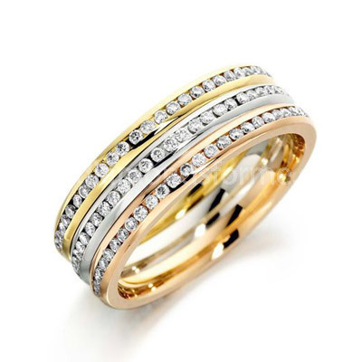 YELLOW WHITE ROSE 3 ROW CHANNEL SET DIAMOND WEDDING RING