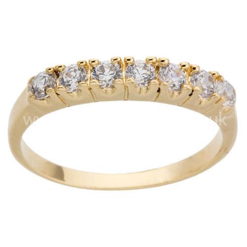 YELLOW GOLD CLAW SET 5 DIAMOND HALF ETERNITY RING