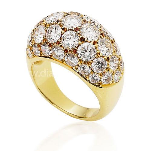 YELLOW GOLD PAVE SET DIAMOND BOMBE DRESS RING