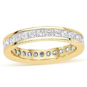 YELLOW GOLD PRINCESS CUT DIAMOND CHANNEL SET FULL ETERNITY RING