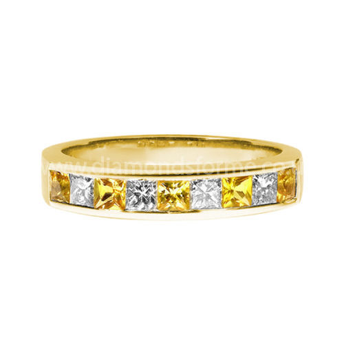 YELLOW GOLD PRINCESS CUT DIAMOND AND YELLOW SAPPHIRE CHANNEL SET HALF ETERNITY RING
