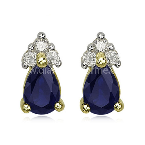 YELLOW AND WHITE GOLD DIAMOND AND PEAR SHAPE SAPPHIRE STUD EARRINGS