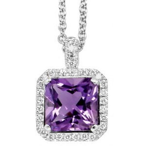 WHITE GOLD AMETHYST AND DIAMOND CLUSTER PENDANT