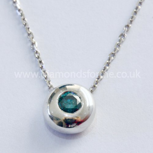 9CT WHITE GOLD TREATED BLUE DIAMOND 0.30CT SLIDER PENDANT ON 18 INCH CHAIN. (WAS £500) NOW £450.00