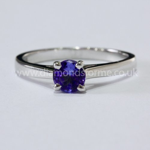 9CT WHITE GOLD 4 CLAW TANZANITE RING. (WAS £300) NOW £270.00