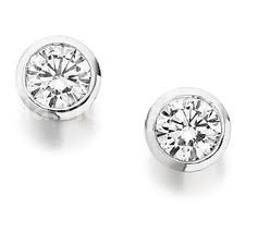 WHITE GOLD DIAMOND RUBOVER STUD EARRINGS