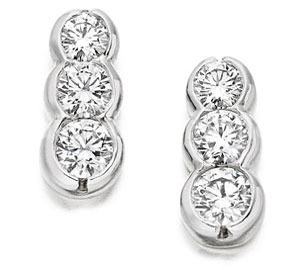 WHITE GOLD TRILOGY DIAMOND EARRINGS