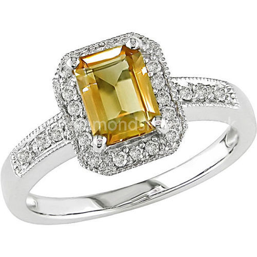 CITRINE OCTAGON DIAMOND CLUSTER WITH ROUND DIAMOND SHOULDERS RING