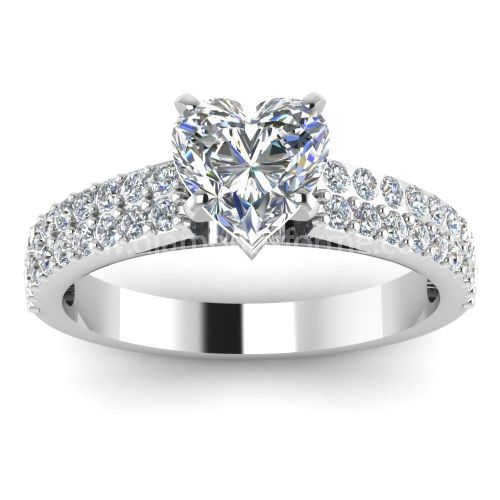 HEART SHAPED DIAMOND RING WITH TWO ROWS OF DIAMONDS ON SHOULDERS
