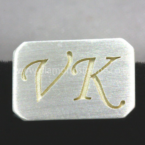 SILVER OCTAGON INITIAL ENGRAVED CUFFLINKS