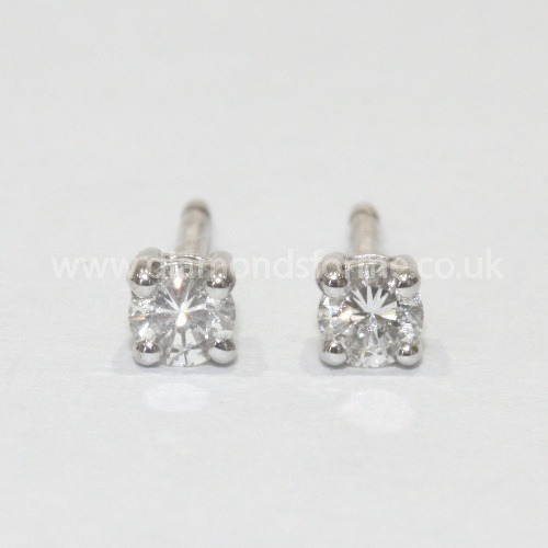 18CT WHITE GOLD FOUR CLAW DIAMOND STUD EARRINGS 0.30CT (WAS £500.00) NOW £450.00