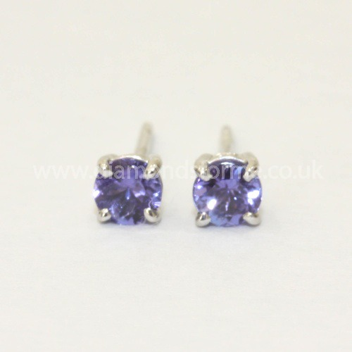 9CT WHITE GOLD 4 CLAW TANZANITE STUD EARRINGS. (WAS £200.00) NOW £180.00