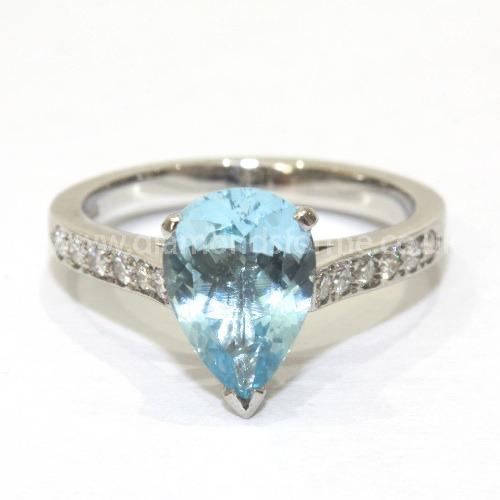 PLATINUM PEAR SHAPED AQUAMARINE 6+6 DIAMOND SHOULDER RING 0.30CT. (WAS £1450.00)  NOW £1305.00