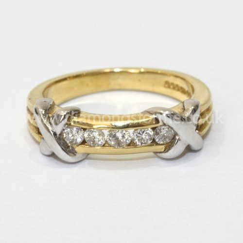 18CT YELLOW DIAMOND CHANNEL SET KISS RING 0.35CT. (WAS £850.00)  NOW £720.00