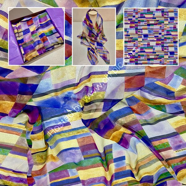 'COLOUR, LINE & FORM COMPOSITION. NO.1' DESIGNER SCARF IN PARIS CHIFFON - MADE IN THE UK