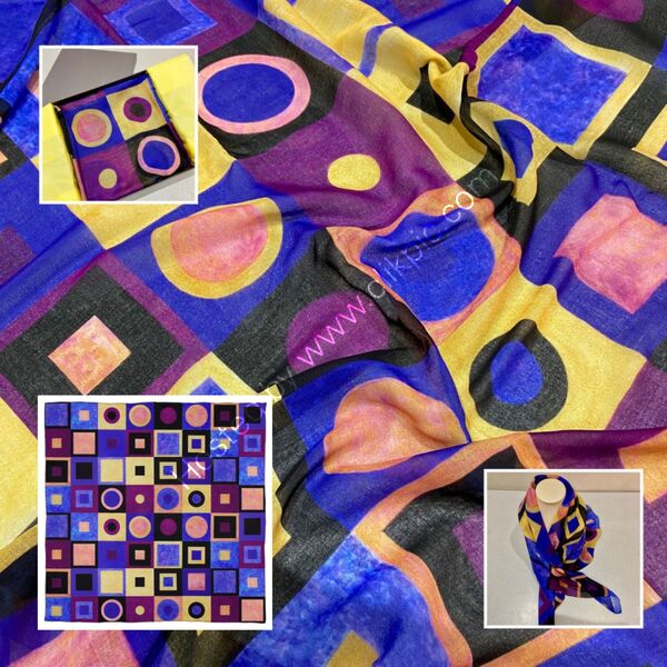 'HOMAGE III TO KLIMT' DESIGNER SCARF IN MALMUL SOFT MUSLIN - MADE IN THE UK