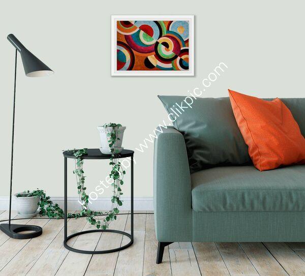 'Circular Rhythms No.4' Framed in a room setting