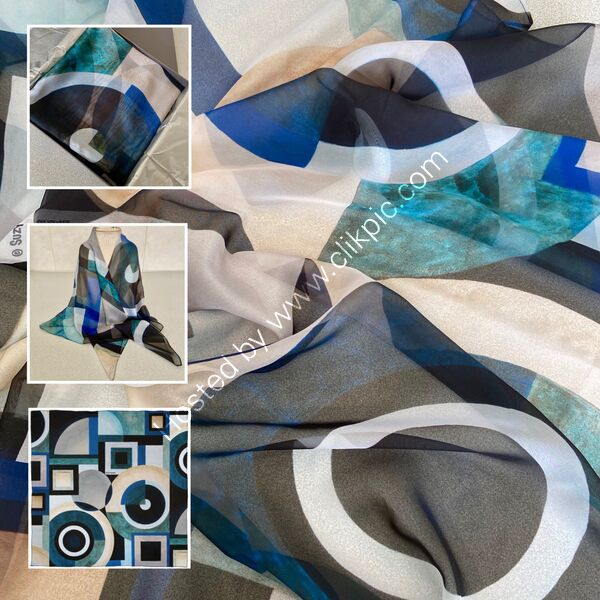 'KEY ELEMENTS NO.1' DESIGNER SCARF IN PARIS CHIFFON - MADE IN THE UK