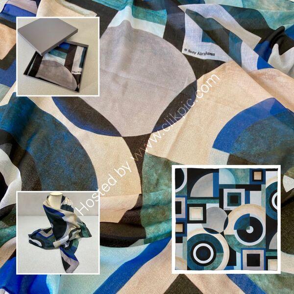 'KEY ELEMENTS NO.1' DESIGNER SCARF IN MALMUL SOFT MUSLIN