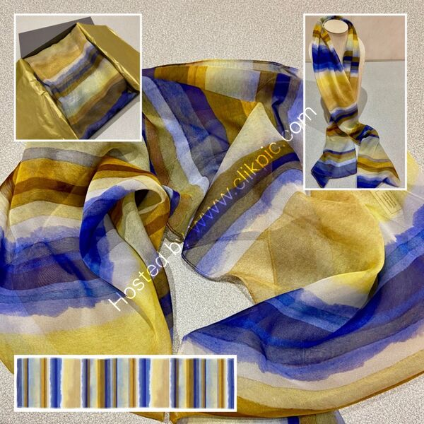'LINEAR RHYTHMS NO. 4' DESIGNER SCARF IN PARIS CHIFFON - MADE IN THE UK