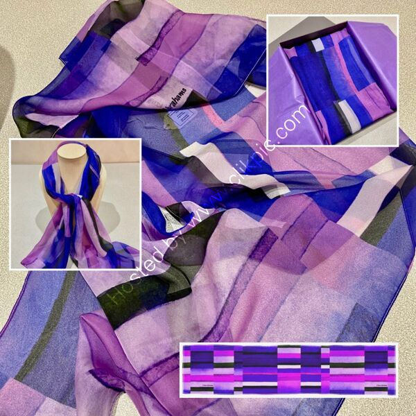'STRIPES PURPLE' DESIGNER SCARF IN PARIS CHIFFON - MADE IN THE UK