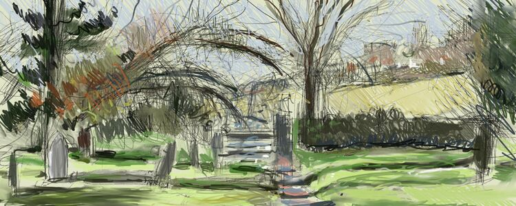 Digital drawing, The Cemetery at Darenth Valley Park