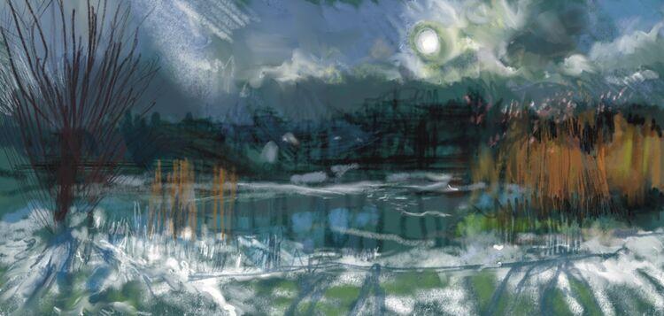 Digital drawing, The Lake, Snow