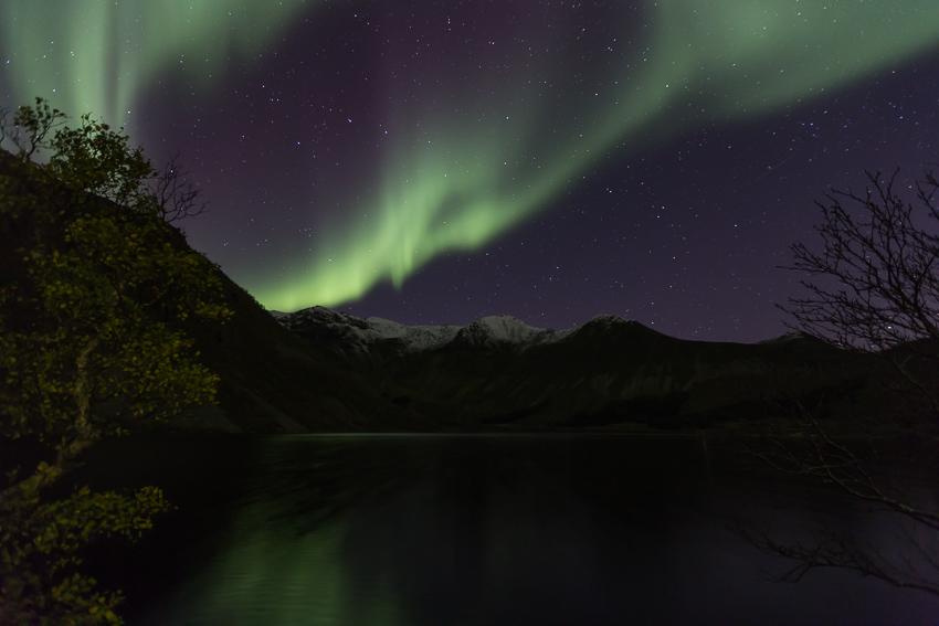 Aurora borealis above mt Breielvtinden