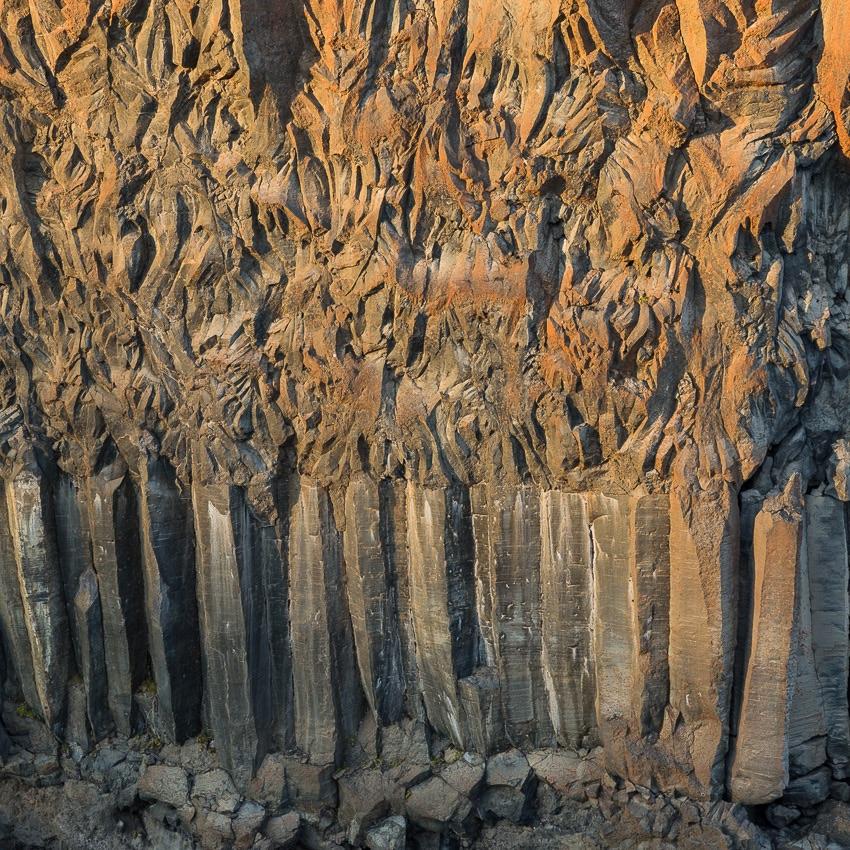 Basalt columns at sunset, Iceland