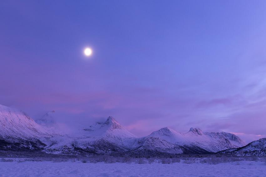Moon over Forfjord-mountains