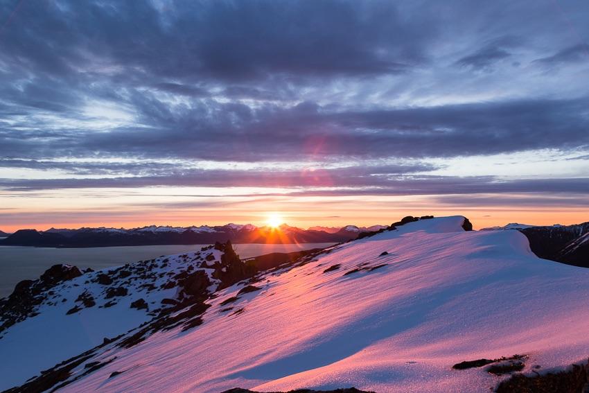 Midnightsun from the mountain Nipa