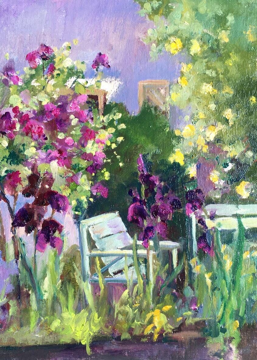 Irises and Yellow Roses