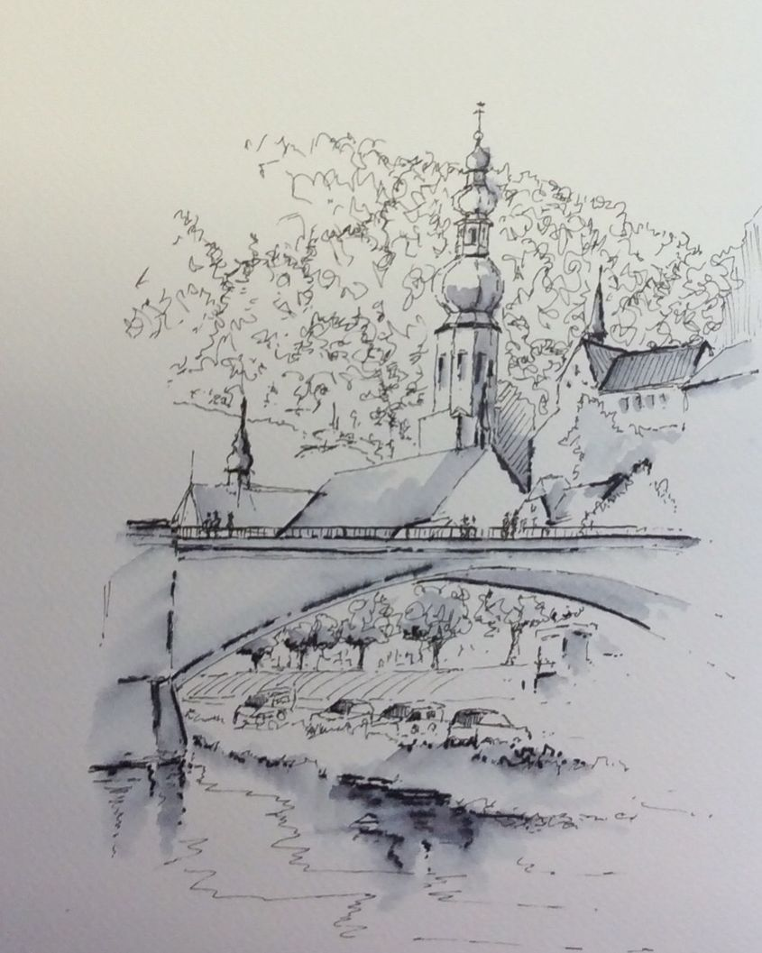 Pen and Ink sketch of Cochem