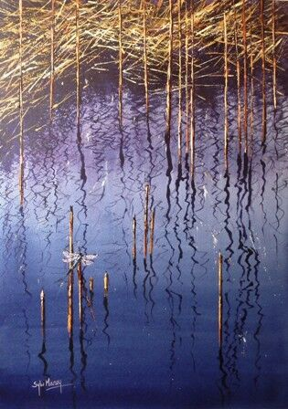 Calligraphic reflections in watercolour
