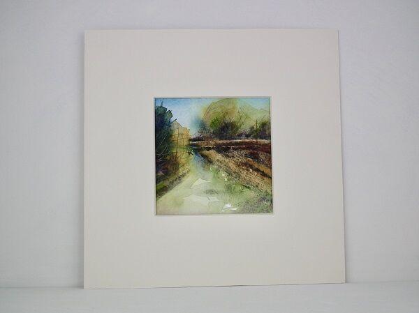 Country Lane, Garboldisham with mount plus white frame