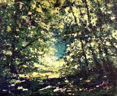 Spring forest in acrylic