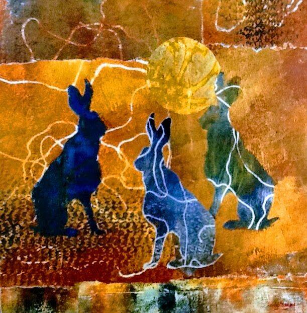 Meeting of hares monoprint
