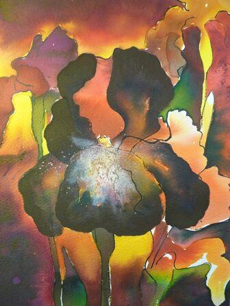 Iris in acrylic inks