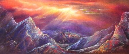 Mysterious mountains in pastel