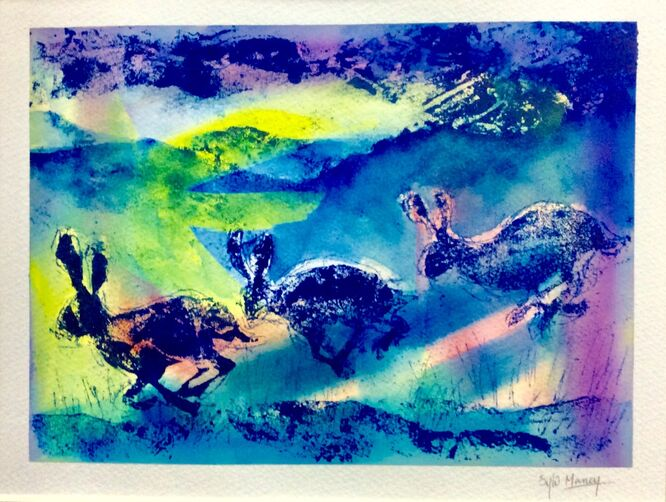 One hare or three monoprint