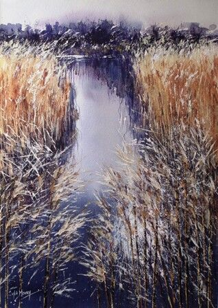 Marshes and reeds in watercolour